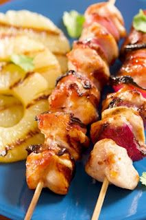 Grilled Hawaiian Chicken recipe combines pineapple, ginger, sesame and a hint of garlic into delicious kebabs making a Fabulous light, yet filling dish during hot weather.