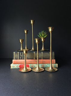 Brass Candlesticks Vintage Tulip Candle Holders Brass by BrassTeak