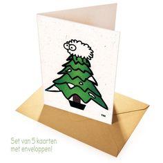 Originele kerstkaarten met kraft envelop. Set van 5 Sheep Poo Paper kerstkaarten 'Santa', gemaakt van papier van 'schapenkeutels' uit Wales! € 7,95