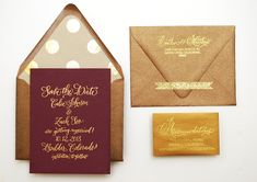 DIY Tutorial: Fig + Gold Calligraphy Save the Dates by Antiquaria via Oh So Beautiful Paper