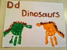 Kid's handprint arts baby footprints and hand print animals and birds picture