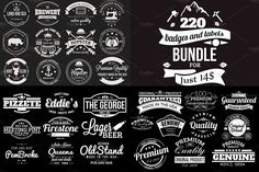 220 Retro Badges and Labels Bundle by Arys Design on @creativemarket