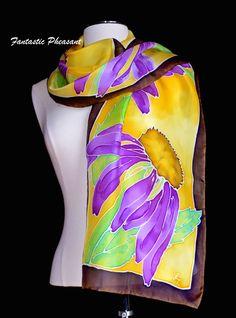Silk scarf hand painted purple echinacea by FantasticPheasant