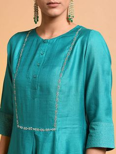 Sea Blue Chanderi Kurta with Cotton Palazzo and Pink Mulmul Dupatta- Set of Loom- An online Shop for Exclusive Handcrafted products comprising of Apparel, Sarees, Jewelry, Footwears & Home decor. Plain Kurti Designs, Silk Kurti Designs, Simple Kurta Designs, Salwar Neck Designs, Neck Designs For Suits, Kurta Neck Design, Dress Neck Designs, Kurta Designs Women, Designs For Dresses