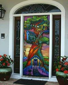 """""""New Art Door"""" An unbelievable door stands as the entrance to this home. This stunning eye-grabber is the first of its kind. Osborne painted it on a solid wooden exterior door and protected it with automotive clear sealer for weatherproofing. Cool Doors, Unique Doors, Entrance Doors, Doorway, Front Doors, Door Knockers, Door Knobs, When One Door Closes, Door Gate"""