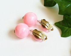 Pink Dangle Earrings, Signed Germany, Plastic Celluloid, Gold Tone Clips, Clip On Antique Earrings, Vintage Collectible Jewelry
