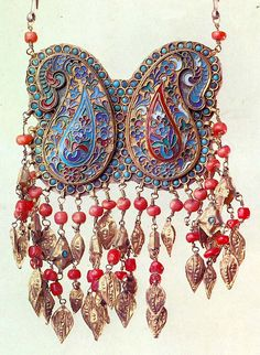Elaborate enameled paisley ornament Khiva Uzbekistan