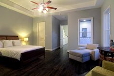 dark wood floor, soft greyblue walls