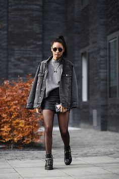Diana B. - Ash Footwear Boots, Calzedonia Tights, Zara Leather Skirt, Asos Denim Jacket, Zara Sweater - How to wear: mesh tights | LOOKBOOK
