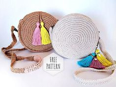 How to Make a Trendy Round Bag – Livemaster Crochet Rug Patterns, Form Crochet, Crochet Round, Crochet Hooks, Cat Applique, Best Purses, Crochet Circles, Round Bag, Boho Bags