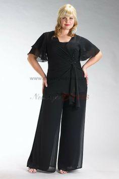 Plus Size black Latest Fashion Three Piece mother of the bride dress pants sets nmo-076