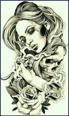 Girl smoke rose skull tattoo