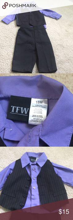 SOLD IN BUNDLEBOGO free! NWOT little boy suit! Purple shirt. Black pin stripe vest. Black pants. Never worn. Great for Easter! Matching Sets