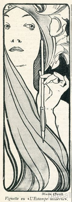 1897 Art Nouveau Mucha Print Vignette L'Estampe Moderne | eBay