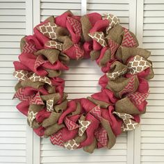 Large Pink Burlap Wreath,  Burlap Wreath with Pink and White Accents, Large Door Wreath for All Year - pinned by pin4etsy.com