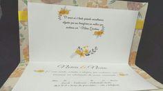 Arte gráfica para convites florais laranja ou amarelos.