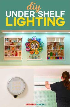 How to install DIY under shelf lighting cheap and easy! #lighting #diy #homedecor via @jenuinemom