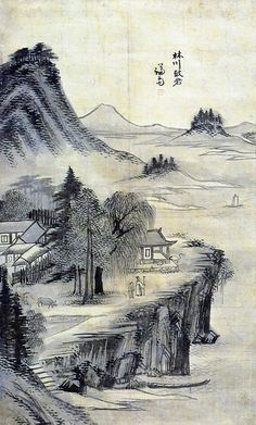 (Korea) Imcheon Rock by Gyeomjae, Jeong Seon (1676- 1759). ca 18th century CE. brush watercolor on paper. 임천고암