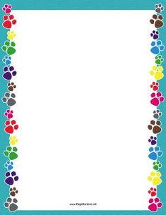 There are colorful dog paw prints on the sides of this printable blue border. Borders For Paper, Borders And Frames, Borders Free, Page Borders Design, Border Design, Frame Background, Paper Background, Printable Border, Note Paper