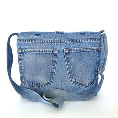 Denim messenger bag , recycled jeans crossbody bag , laptop bag ,vegan shoulder…