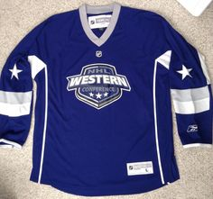 new NHL WESTERN CONFERENCE HOCKEY JERSEY Reebok Blue All-Star Game MENS LRG #Reebok #NHLWESTERNCONFERENCE