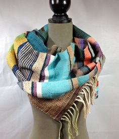 Leigh // Handwoven Olive Peacock & Orchid Scarf // by pidgepidge Unique Art, Unique Jewelry, Cozy Scarf, Bold Colors, Peacock, Orchids, Scarves, Hand Weaving, Style Inspiration