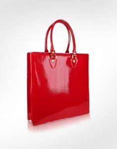 red patent leather tote portfolio bag