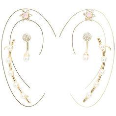 Charlotte Russe Pearl Ear Cuffs & Stud Earrings Set ($6) ❤ liked on Polyvore featuring jewelry, earrings, gold, pearl jewellery, pearl jewelry set, ear cuff earrings, post back earrings and post earrings
