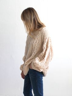 Ryan Roche Oversize Cashmere Fisherman's Sweater - Natural