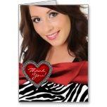 Red Heart Photo Zebra Thank You Cards Photo Thank You Cards, Custom Thank You Cards, Sweet 16 Parties, Photo Heart, Pink Zebra, Custom Photo, Party Invitations, Black And White, Elegant