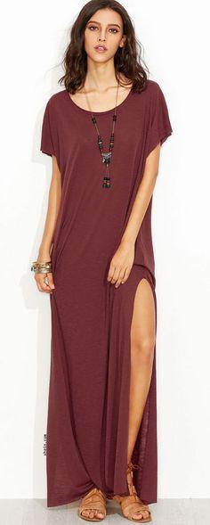 #Summer #Outfits / Burgundy Slit Maxi Dress + Brown Sandals