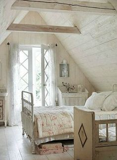 Farmhouse Living - pretty cottage style bedroom - via Old World Living Blog