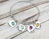 Personalized Adjustable Hand Stamped Charm Bangle Bracelet - gift for mom - sister - grandmother - daughter - friend