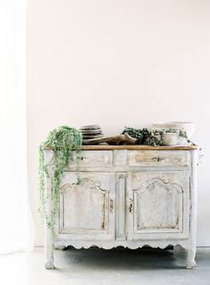 Romantic antique buffet table with vines