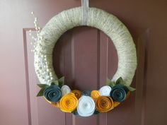 Spring Wreath - Summer Wreath - Year Round Wreath - Wheat Yarn Wrapped Wreath with Pearls, Berries, and Felt Flowers and Leaves