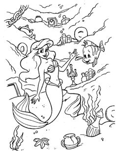 Ariel and under sea world coloring page from The Little Mermaid category. Select from 24848 printable crafts of cartoons, nature, animals, Bible and many more.