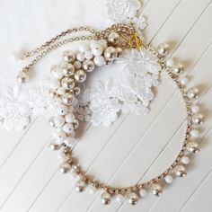 たっぷりパールのネックレス[white&gold]