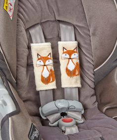 Loving this Beige Fox & Brown Minky Reversible Car Seat Strap Cover Set on #zulily! #zulilyfinds