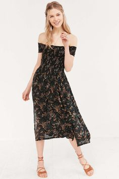 Kimchi Blue Picnic Smocked Off-The-Shoulder Black Midi Dress - Urban Outfitters