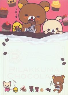 cute Rilakkuma memo pad with stickers with bears and chick drinking coffee