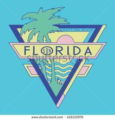 Vintage Florida Surf Typography, T-Shirt Graphics, Vectors - 418122976…