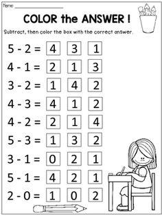 Subtraction Within 5 Practice Sheets Subtraction Kindergarten, Kindergarten Math Activities, Preschool Writing, Numbers Preschool, Kindergarten Worksheets, Free Activities, Math Addition Worksheets, First Grade Math Worksheets, 1st Grade Math