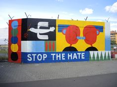 This mural was painted after the massacre in Orlando to solidarize with the LGBTQ-community. After the killing of two black men, five police officers and the attack in Nice this mural gets another dimension. Graffiti Murals, Street Art Graffiti, Mural Wall Art, Mural Painting, Decoration, Art Decor, Colour Architecture, School Murals, Colorful Wall Art
