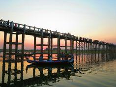 Sunset at U- Bein- Bridge, Amarapura, Myanmar Amarapura, Inle Lake, Yangon, Mandalay, Marina Bay Sands, Bridge, Wings, Album, Sunset