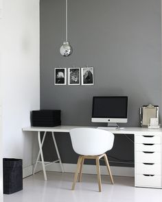 A simple and beautiful home office via A Merry Mishap blog.