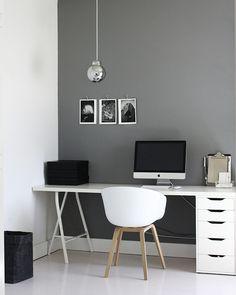grery wall + silver pendant + trestle leg + white desk