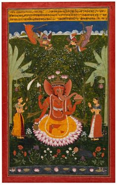 "centuriespast: "" The God Ganesha Attended By Maidservants Artist/Maker:Bundi School, painter Date:Late 17th Century Place:Rajasthan/India Cincinnati Art Museum """