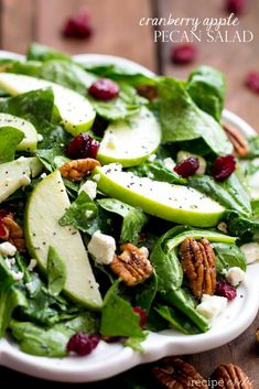 Cranberry Apple Pecan Salad with Creamy Poppyseed Dressing Recipe Salads with baby spinach pecans granny smith apples feta cheese crumbles dried cranberries dressing mayonnaise reduced-fat milk sugar cider vinegar poppyseeds Apple Pecan Salad Recipe, Apple Salad Recipes, Nut Recipes, Vegetarian Recipes, Healthy Recipes, Kraft Recipes, Healthy Options, Green Apple Salad, Apple Cranberry Salad