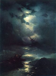 Storm in the North Sea, 1865 👨🎨Ivan Konstantinovich Aivazovsky Jul Feodosia, Crimea – 2 May Feodosia, Crimea) was a Russian Romantic painter who is considered one of the greatest masters of marine art. Russian Painting, Russian Art, Nocturne, Moonlight Painting, Sea Art, Beautiful Moon, Aesthetic Art, Dark Art, Painting & Drawing