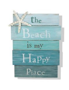 """The Beach Is My Happy Place"" Sign - Tropical Starfish Plaque Coastal Wall Decor"